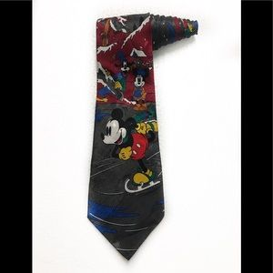 Disney Mickey Minnie Mouse Ice Skating Goofy Tie